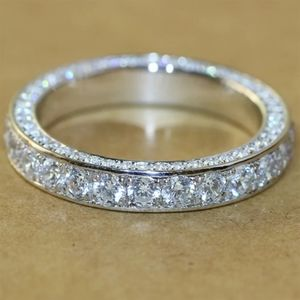 New Two Tone Gold Silver White Sapphire Ring